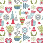 Lewis & Irene - Hygge Christmas - 5974 - Winter Motifs on Off-White  - C26.1 - Cotton Fabric